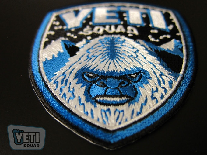 """Yeti Squad"" embroidered patch close-up"