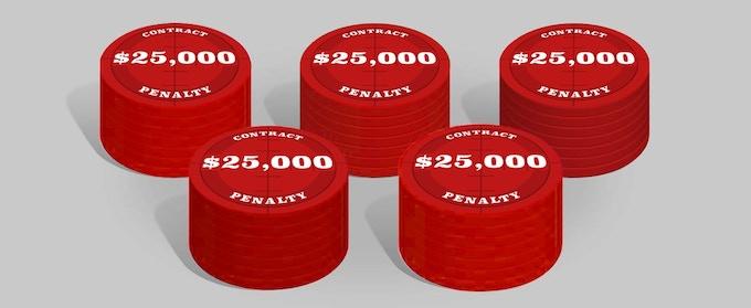 25 x Penalty chip $ 25,000, cardboard poker chip 39mm * 2mm.