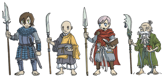 The 4 heroes: Bronwyn, Cresswell, Cora and Booshmu