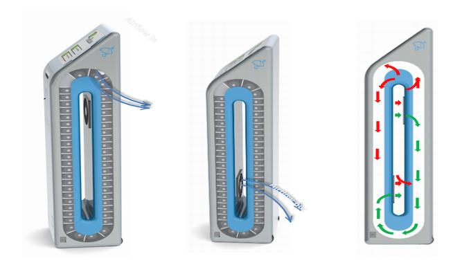 Air flow schematic for damp umbrella returns