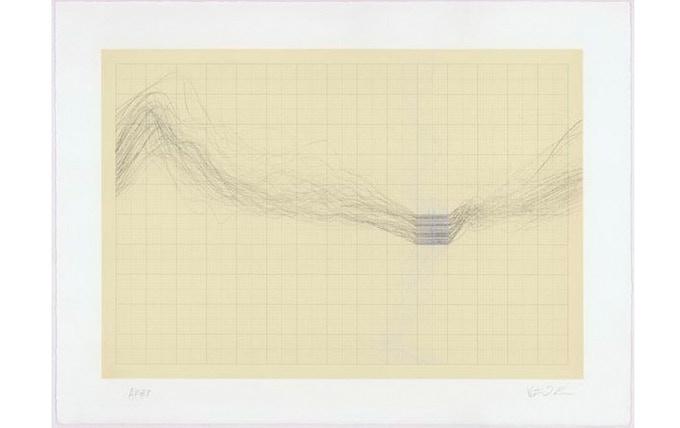 £400: Peter J. Evans, The Moment under the Moment, 2006, four colour lithograph test print, (28cm x 38cm).