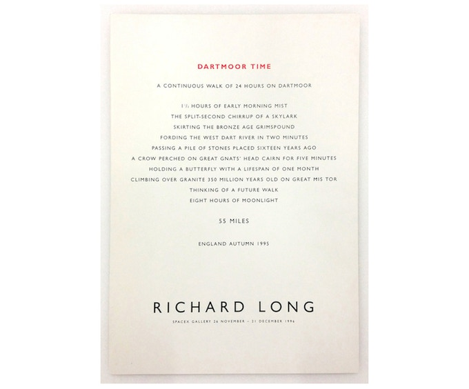 £25: Richard Long, Dartmoor Time - A Continuous Walk of 24 Hours on Dartmoor, 1995, gatefold card, (21cm x 30cm).