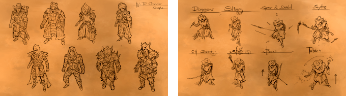 The first eight weapon and armor sets planned.