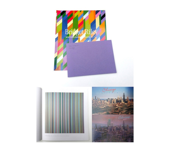 £30: Sol LeWitt, Chicago, 2002, artist book, (19cm x 13.4cm) and Bridget Riley, Recent Works: Paintings and Gouaches 1981-1995, catalogue, (21.5cm x 25.9cm).