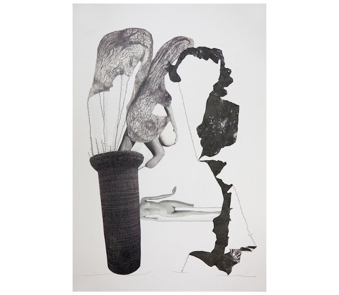 £800: Laura White, Negotiator, 2014, collage and graphite on paper, (42cm x 49.4cm).
