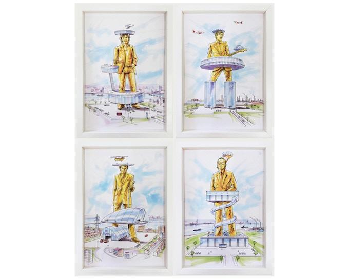 £1800: Scott King, The Originality of the Avant Garde aka Thames Estuary Giants, 2013, comprising 4 digital prints, individually framed (23cm x 32cm).