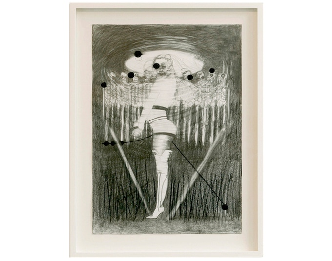 £2500: Dawn Mellor, Untitled 1, original drawing from the exhibition at Spacex Vile Affections, pencil and charcoal on paper, 2008, framed (54cm x 72cm).
