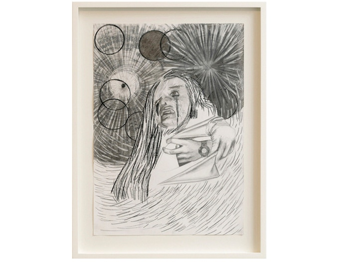 £2500: Dawn Mellor, Untitled 2, original drawing from the exhibition at Spacex Vile Affections, pencil and charcoal on paper, 2008, framed (54cm x 72cm).