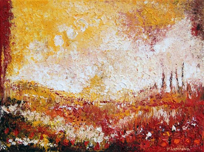 Sunny Field 12''x16''x2'' (using corks...)