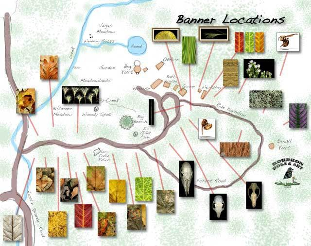 A map of the Woodland Banner installation in our woods