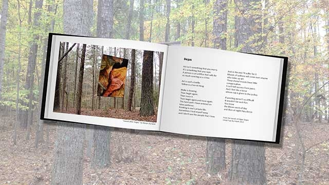 "A mock-up of the book ""Woodland Banner Poetry"""