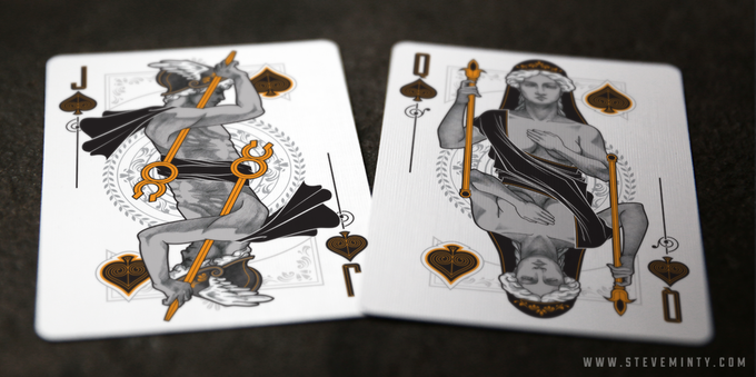 Hermes as Jack of Spades and Hera as Queen of Spades