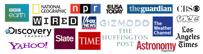 Media outlets which have featured SKYGLOW timelapses and images