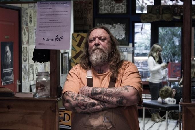 Henk Schiffmacher in his world famous tattooshop
