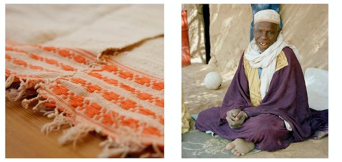 Vintage Fulani textile and Fulani village chief