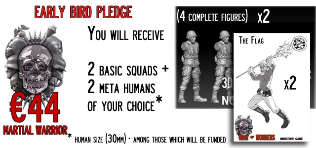Early Bird - Martial Warrior You will receive 2 Basic Squads (8 miniatures) of your choice + 2 Meta-Humans (30mm size) of your choice