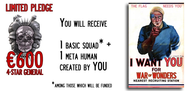 Four-star General - you will receive 1 Basic Squad (4 miniatures) + 1 Meta-Human (30mm size) created by you (**).