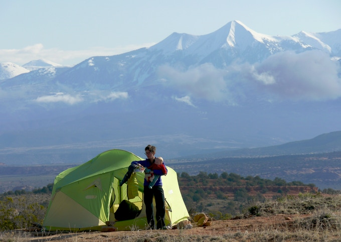 Enjoying a lovely morning in a super-exposed camp on bare rock