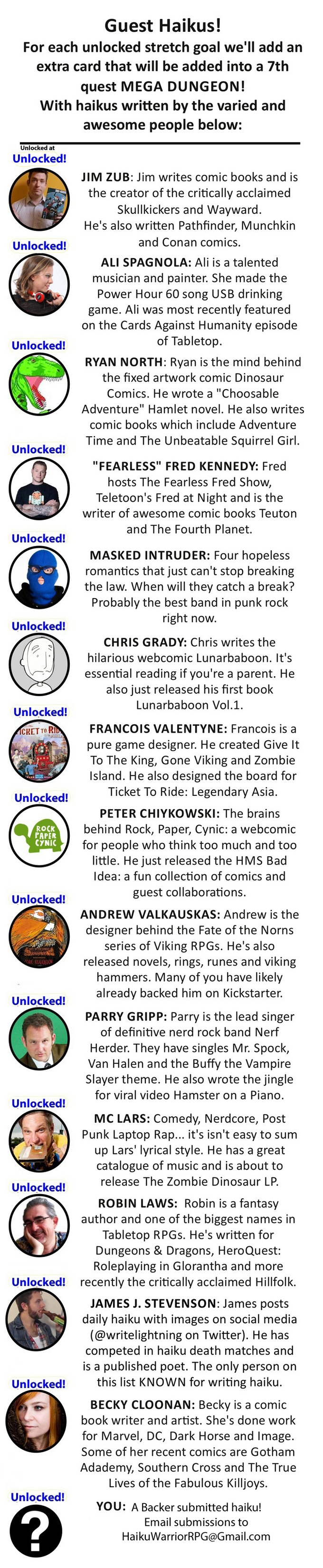 Thanks to these backers and talented industry pros for writing haikus!