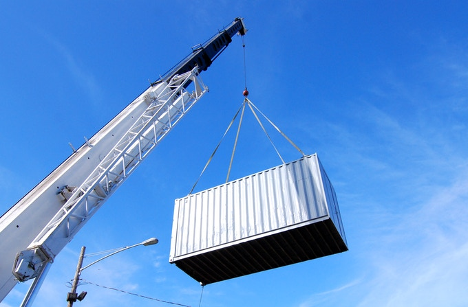 One of the first containers being craned into place. © Joseph Perez-Green 2011.