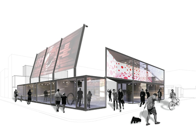 Rendering of the walk-in theater and a future design gallery. © envelope A+D.