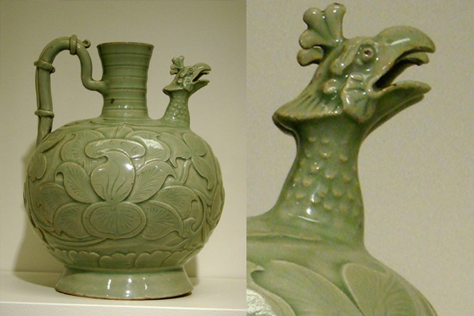 Song Dynasty celadon porcelain with a fenghuang spout, 10th century, China.