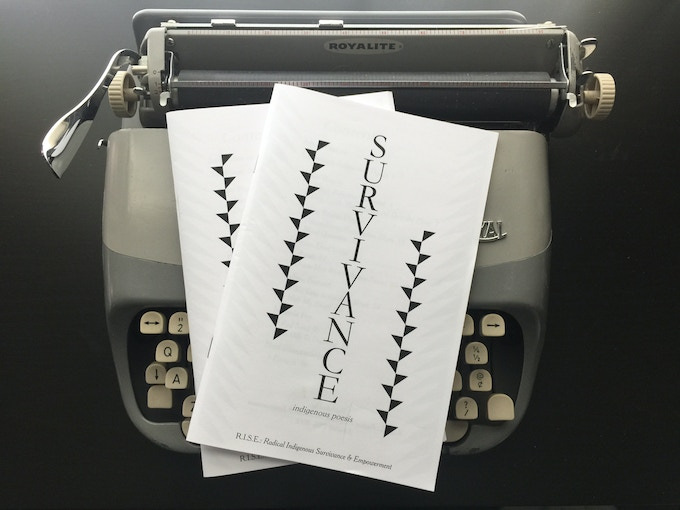 $40 Reward - Survivance: Indigenous Poesis features the poetry of 6 Indigenous/First Nations poets: Janet Rogers, Trevino Brings Plenty, Demian DinéYazhi', Melissa Bennett, Melanie Fey, & Neal Shannacappo. Published by R.I.S.E., 2015.