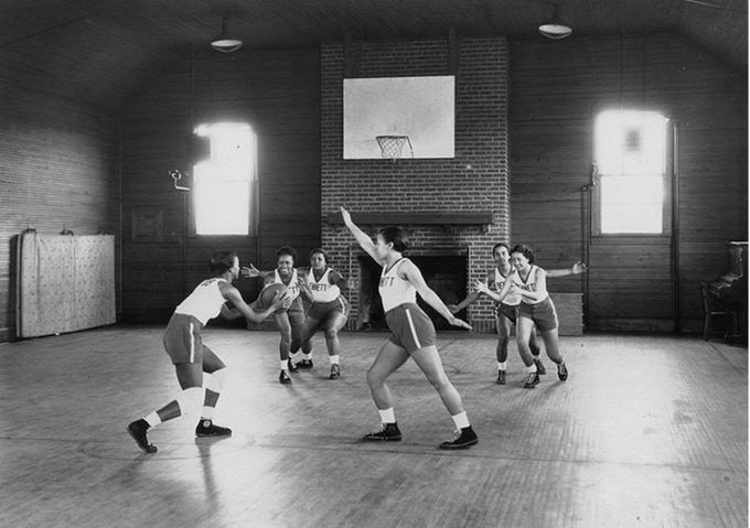 "The Bennett College team from the 1930s. Note the fireplace on one end of their ""court."""