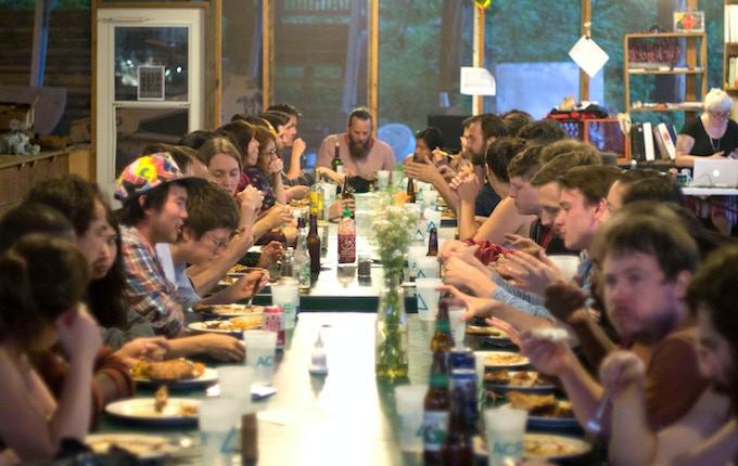Residents enjoying dinner during Session 3 Summer 2014.