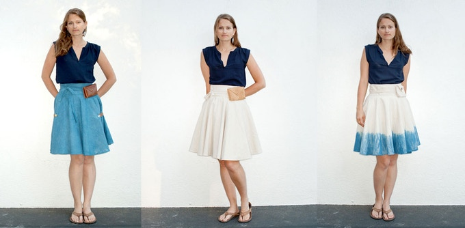Available in natural (center) with two hand-dyed indigo blue options (quantities limited): solid (left) and dip dyed (right). Model is 5'4 wearing the short skirt.