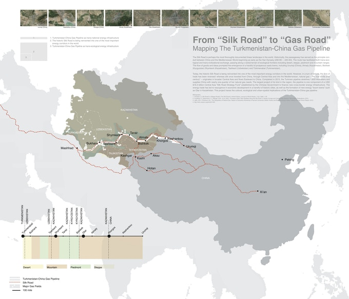 The historic Silk Road is being reinvented into one of the most important energy corridors in the world. (map courtesy of Xiaoxuan Lu)