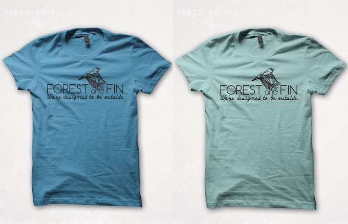 Forest and Fin men's (left) and women's (right) Earth-friendly tshirts: We're designed to be outside!