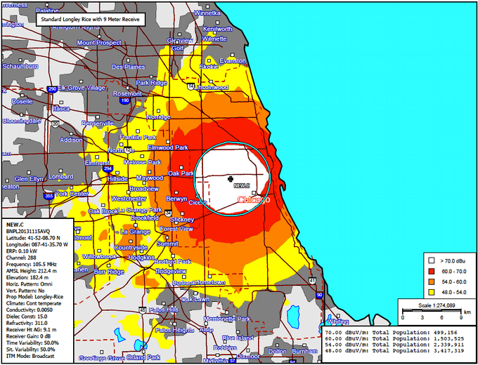 Map showing WLPN radio signal coverage