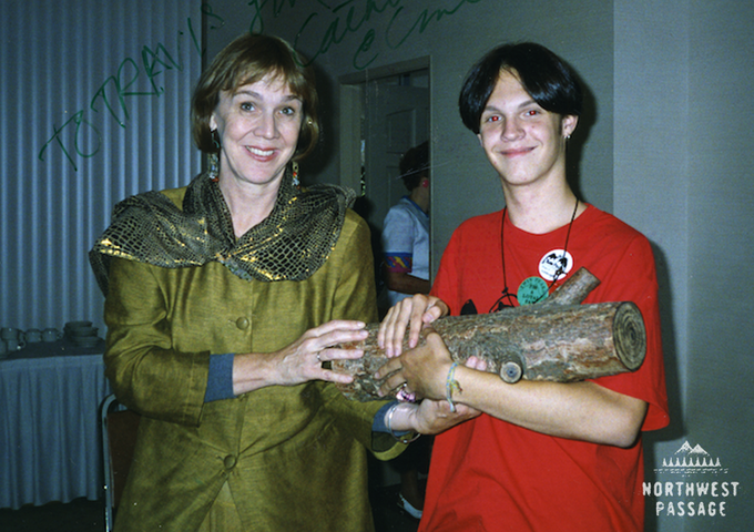 Travis with Log Lady Catherine E. Coulson at the Twin Peaks Fan Festival, 1993