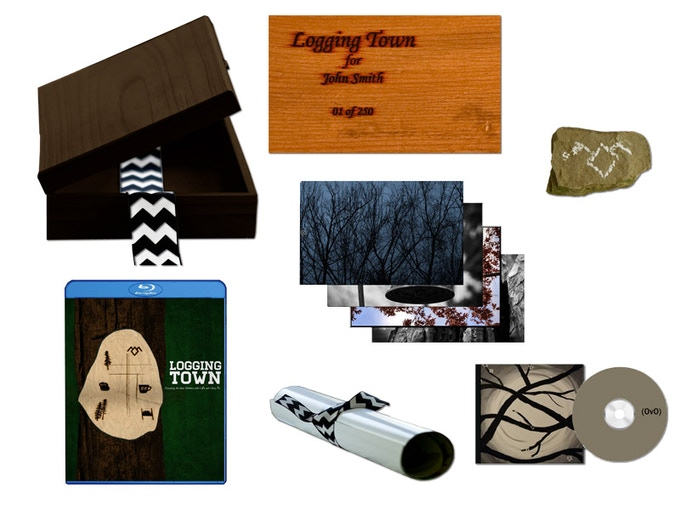 Sample Deluxe Bluray set which includes your name hand burnt into the wooden box and your 'piece' of Snoqualmie Falls with a TP sealed design
