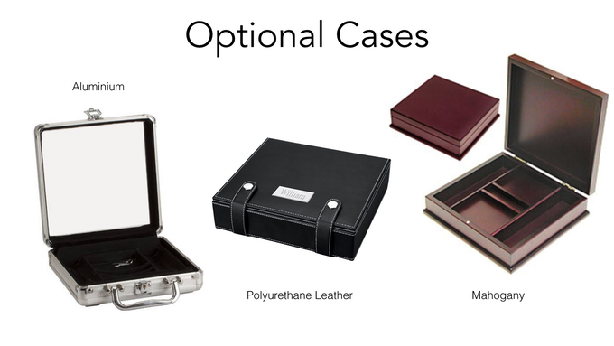 The Aluminum, Leather and Mahogany Cases