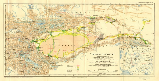 """Sir Marc Aurel Stein's 1925 Map """"Chinese Turkistan and Adjacent Parts of Central Asia and Kansu"""""""