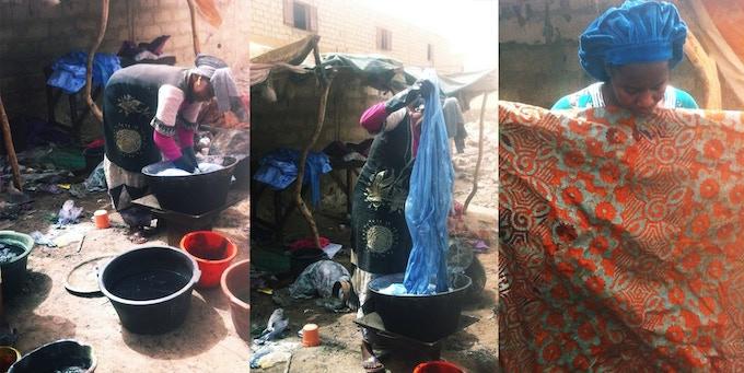 Women dyeing fabric