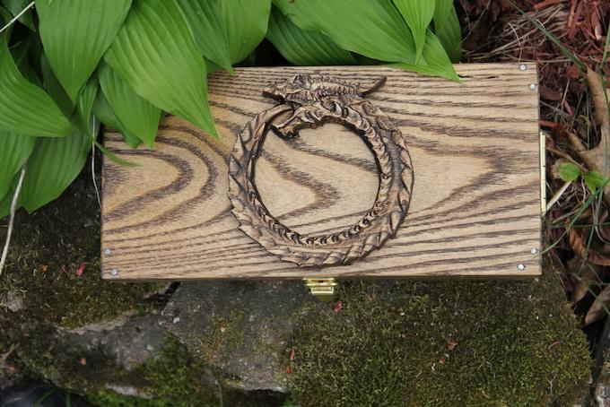 Ouroboros Wood Sculpt on White Ash with Dark Walnut finish.