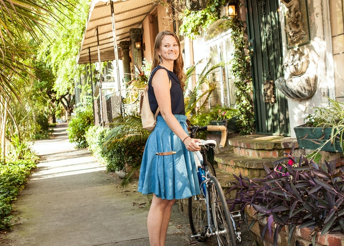 That's me on a ride around Savannah in the hand-dyed indigo blue Bicycle Wrap Skirt paired with a set of our removable leather Skirt Secures and leather backpack!