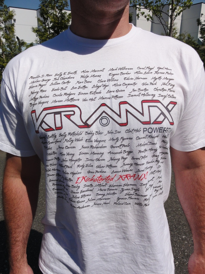 """I kickstarted KRANX!"" t-shirt. Includes: Your name! recognized with all other contributors at particular reward level. Shirt will be numbered and signed by Kranx founders. See Rewards #5, #6, #7, #8, #10"
