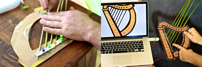 Make a Harp from Palm Fronds, Cardboard and Thumbtacks. Strum the plant harp to trigger sounds and visuals on the laptop.