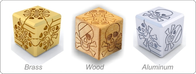 3d visualization of metal dices in comparison with natural wood