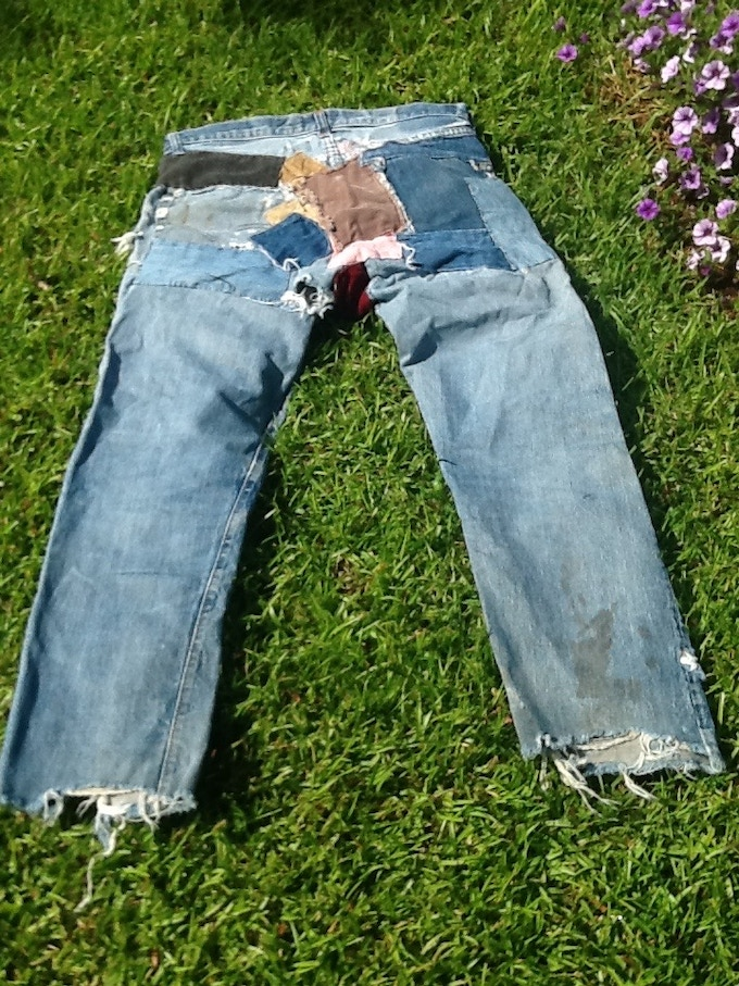 Authentic jeans: worn to Woodstock, original Broadway production of Hair AND the revival 40 years later. Patched by my Mom, several girlfriends and my wife!