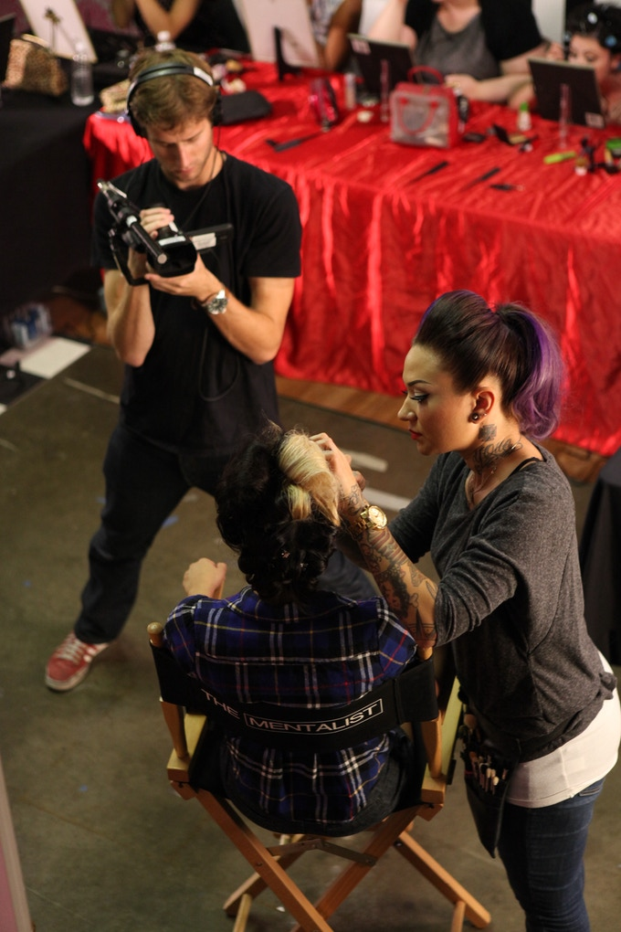 Behind the scenes at Pin Up! The Movie. Courtesy Mitzi Valenzuela.