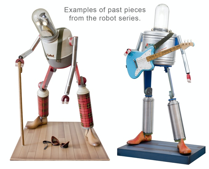"""I will build you a custom robot for your home! We will collaborate on a theme and design. On average the robots in this series stand 42""""-48"""" tall. They also have illuminated elements using LEDs driven by custom built circuitry."""