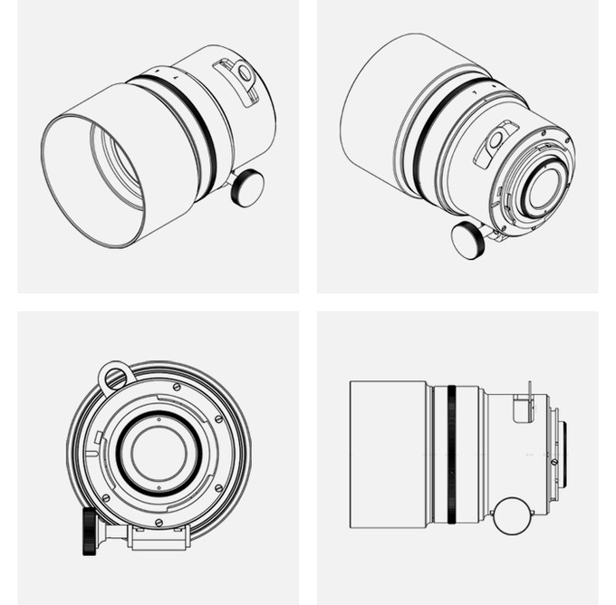 Technical diagrams showing the lens design