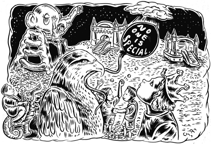 """For $50: An Ali Fitzgerald print of characters from her popular Internet Tendency comic """"Hungover Bear and Friends,"""" made exclusively for this Kickstarter."""