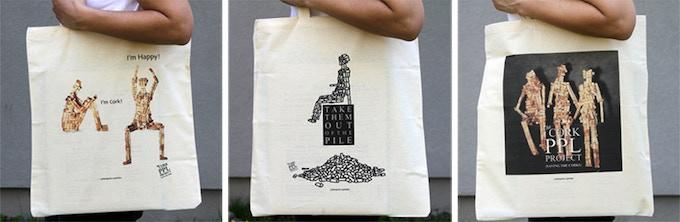 Custom-made tote bags.