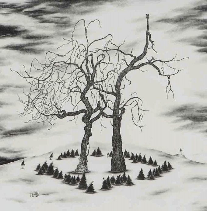 """For $2,500: Commission a drawing featuring your favorite tree by Robyn O'Neil, the artist behind the gorgeous covers of McSweeney's 32 and Alessandro Baricco's """"Emmaus""""."""